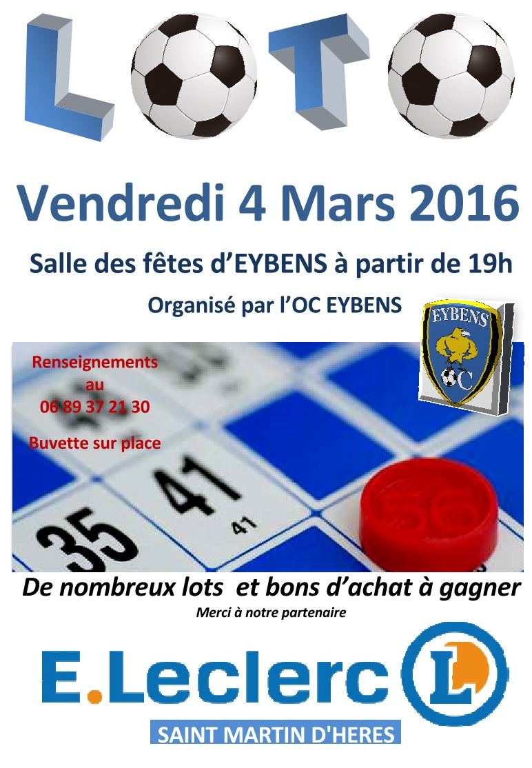 Loto oce vendredi 4 mars oc eybens oc eybens for Loto dans 02
